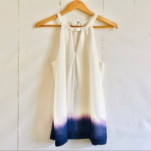 Banana Republic White & Blue Tank Top